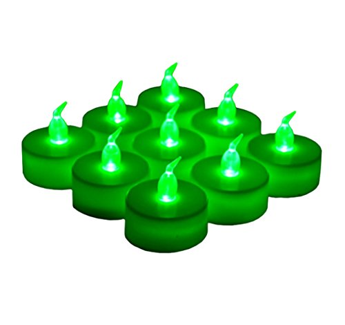 24 Pack LED Tea Lights Candles – Flickering Flameless Tealight Candle – Long Lasting Battery Operated Fake Candles – Decoration for Wedding, Party and Christmas (Green - 24pcs)