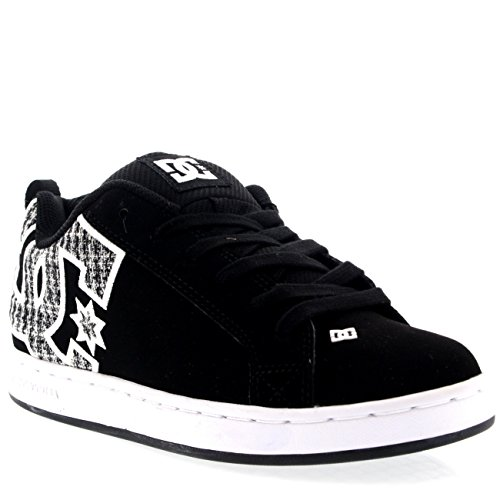 DC Womens Shoes Court Graffik Casual Low Top Sneakers Suede Skate Shoes - White/Green Plaid - 7