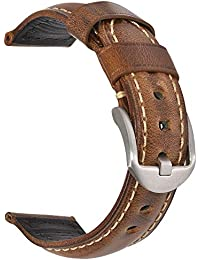 Vintage Leather Watch Band EACHE Watch Strap Oil Wax Genuine Leather Replacement Watchband for Men for Women 22mm Light Brown Silver Buckle