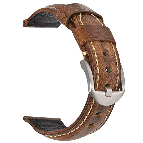 Vintage Leather Watch Band EACHE Watch Strap Oil Wax Genuine Leather Replacement Watchband for Men for Women 20mm Light Brown Silver Buckle Brown Expedition Watch Band