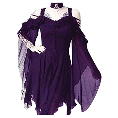 TWGONE Plus Size Gothic Dresses for Women Special Occasion Dark in Love Ruffle Sleeves Off Shoulder Midi Dress(XXXX-Large,Purple)