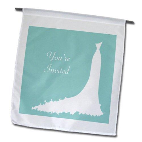 3dRose fl_184635_1 Print of Elegant Simple Wedding or Shower Invite Garden Flag, 12 by (Elegant Invite)