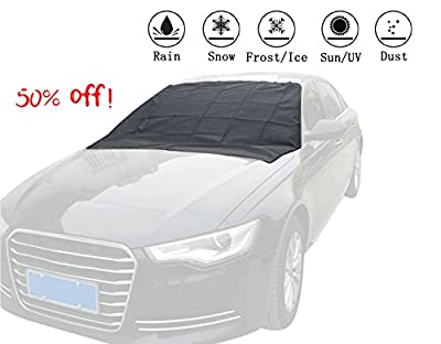 Windshield Snow Cover,OMUOFFROAD Car Snow Cover Snow Ice Frost Auto Cover Waterproof Windproof Dustproof Outdoor Fit for Cars Trucks Vans and SUVs (96 x 57 in)
