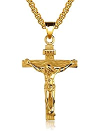 Men's 18K Gold Plated/Stainless Steel Jesus Christ Cross Crucifix Pendant Necklace 22 Inch