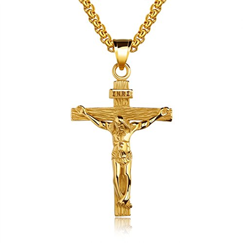 TENGYI Men's 18K Gold Plated/Stainless Steel Jesus Christ Cross Crucifix Pendant Necklace 22 Inch (Gold Crucifix Plated)