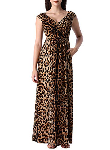 VFSHOW Womens Leopard Print V Neck Ruched Draped Front Pockets Pleated Casual Formal A-Line Maxi G3063 Leo XS