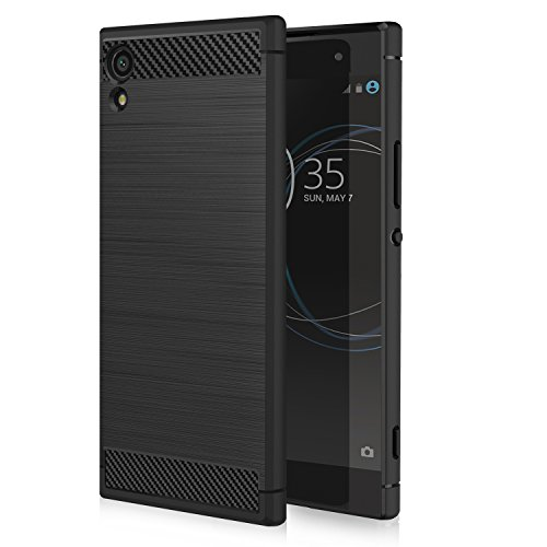 Sony Xperia XA1 Case, MoKo Slim Fit TPU Bumper Case Carbon Fiber Design Lightweight Shockproof Back Cover for Sony Xperia XA1 5 Inch (2017), Black