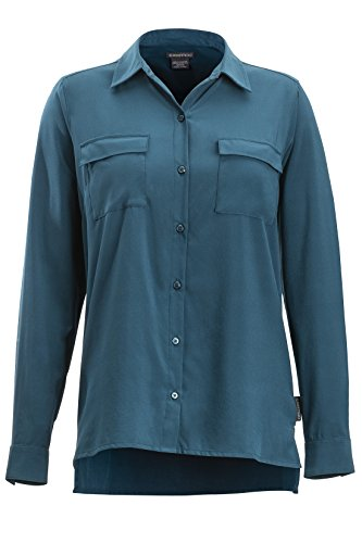 ExOfficio Women's Kizmet Long Sleeve Button Down Shirts, Adriatic, Large