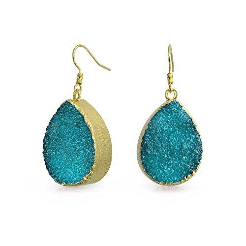 Bling Jewelry Gold Plated Blue Dyed Druzy Agate Teardrop Dangle Earrings