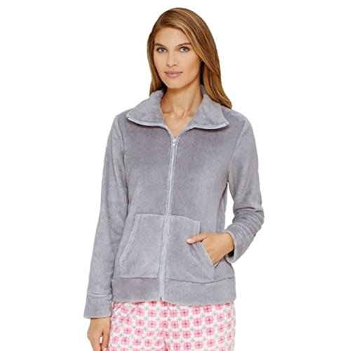 Women's Croft & Barrow Pajamas: Wispy Clouds Plush Full-Zip Sleep Cardigan Gray Heather (Barrow Plush)