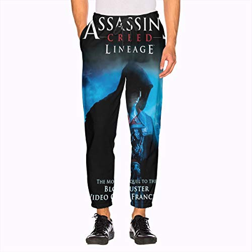 Assassins Creed Sweatpants 3D Printing with Pockets Sports Jogger Pants for Men's White (Sweat Creed Assassins Pants)