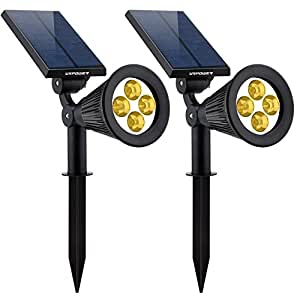 Solar Lights Warm White 2-in-1 Solar Powered 4 LED Adjustable Spotlight Wall Light Landscape Light Bright and Dark Sensing Auto On/Off Security Night Lights for Patio Yard Driveway Pool