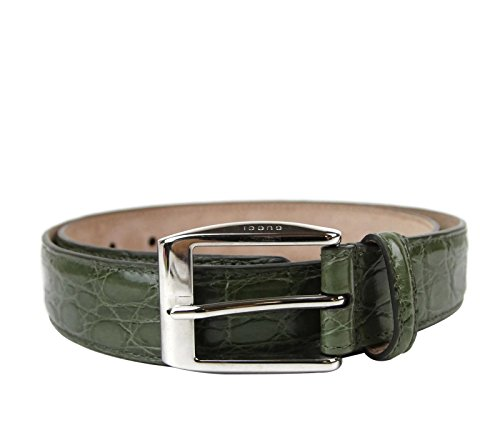 Gucci Men's Crocodile Classic Square Buckle Belt 336831 (90 / 36, Green)