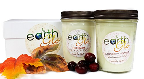 EarthGlo Christmas Candles - Scented Soy Candle Set In Gift Box - Fall Spice And Cranberry Harvest - Perfect Holiday Scents With Pumpkin And Cinnamon - Perfect Soy Candles For Christmas