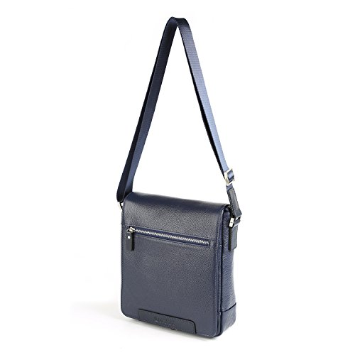Carteras de diseñador de cuero genuino OTTO, Bolsa de mensajero unisex, Bolso clásico de hombro, Bolso de viaje, 31 cm (Marrón) Azul