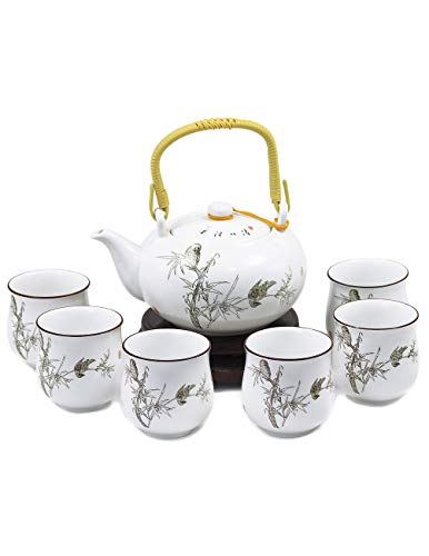 Dahlia Handpainted Porcelain Tea Gift Set:Teapot+ 6 Teacups in Gift Box Peaceful Bamboo