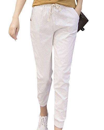 Blanc Plage Lache Unie Femme Pantalons Pantalon de Confortable Couleur Dcontracts APPU1z