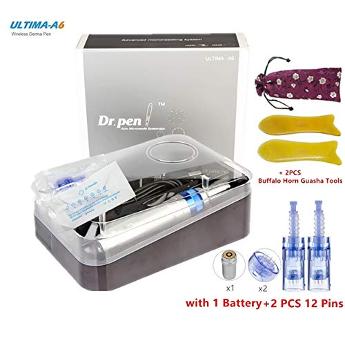 Dr.pen A6 Multifunctional Rechargeable SPA Professional Care Equipment with Replacement Parts Set (with 2 x 12Pin Replacement Cartridges + 2pcs Guasha Beauty Tools, 1 Battery)