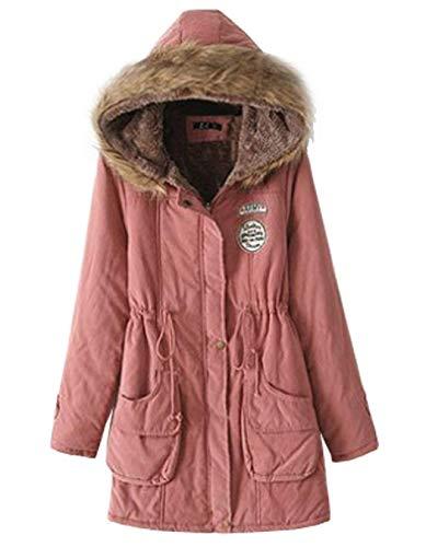 Capuche Longues A Unicolore Veste Coat Poches Avant Hiver Manches Femme Fermeture avec w06xqn10
