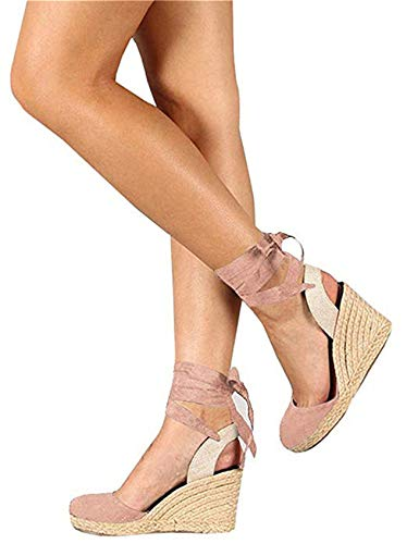 (Mafulus Womens Platform Wedge Sandals Closed Toe Lace Up Ankle Strap Heel Slingback Espadrille Sandals )