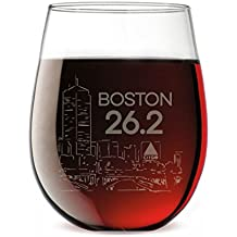 Boston Sketch Engraved Stemless Wine Glass | Wine Glasses By Gone For a Run | 15 oz.