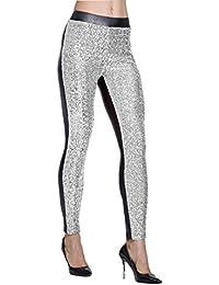 Women's Rose Shiny Sequins Faux Leather Leggings Pants...