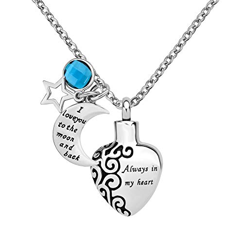 CLY Jewelry Urn Necklace for Ashes Stainless Steel Love Heart with Moon and Star Birthstone of March Aquamarine Blue Crystal Cremation Jewelry Always with You Memorial Keepsake 2019 ()