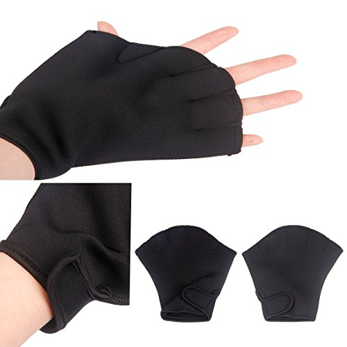 Water Resistance Fins Hand Glove Training Fingerless Webbed Flippers Paddle Swim Gloves Aquatic Fit Swim Webbed Gloves Fitness Women Men Children Swim Paddles Diving Skin-friendly Hand (Skin Fit Glove)