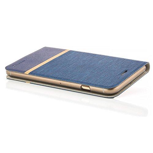 Funda iPhone 7 Plus [zanasta Designs] Cubierta Carcasa Flip Case Tapa Delantera con Billetera para Tarjetas Protectora de Alta Calidad, Cierre Abatible Azul Azul