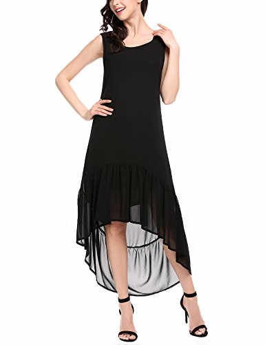 Zeagoo Damen Strandkleid Sommerkleider Maxikleid Lang Chiffon Kleid ...