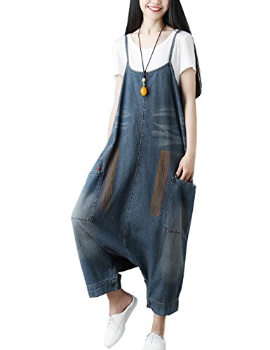 Flygo Women's Loose Baggy Cotton Wide Leg Jumpsuit Rompers Overalls Harem Pants (One Size, Style 06 Dark ()