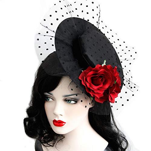 Women Girls Vintage Veil Rose Cap Dress Derby Hat for Cocktail Ball Wedding Halloween ()