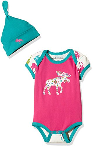 Little Blue House by Hatley Baby Girls' Bodysuit and Cap, Patterned Moose, 3-6M