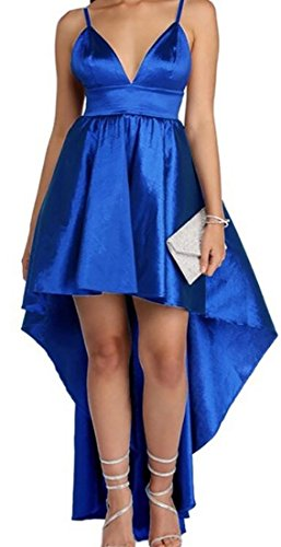 Elegant High Straps Womens Low Satin V Blue Cocktail Party Neck Spaghetti Alion Dresses Dress Skater zFqxwp44