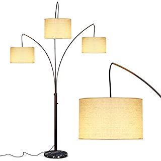 Brightech Trilage Arc Floor Lamp w/ Marble Base -- 3 Lights Hanging Over The Couch from Behind - Multi Head Arching Tree Lamp - for Mid Century, Modern & Contemporary Rooms - Oil Rubbed Bronze