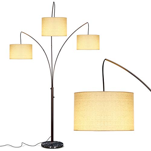 Brightech Trilage Arc Floor Lamp w/ Marble Base — 3 Lights Hanging...