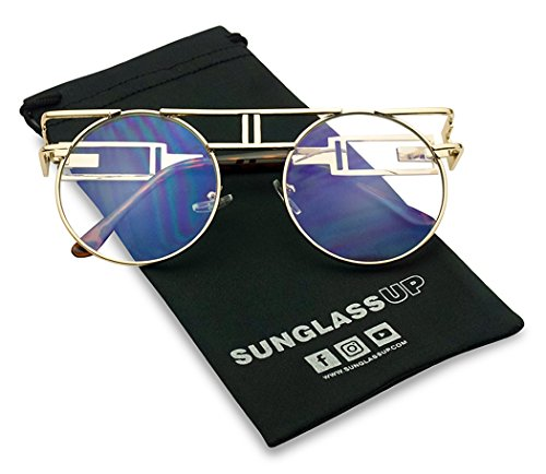 Vintage Round Steampunk Open Metal Brow Bar Flat Clear Lens Fashion Glasses (Gold, -