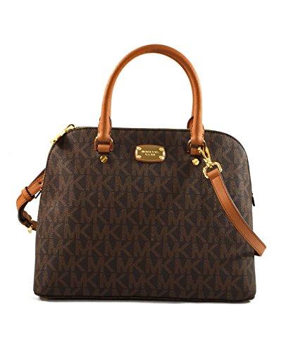Michael Kors Cindy Large Dome Satchel MK Signature Crossbody Bag Purse (Brown/Acorn)