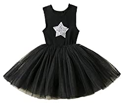 Girls Sequin Mesh Tulle Cotton Sleeveless Dress