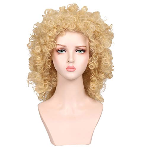 FantaLook Medium Long Natural Curly Kinky Blonde Wig for 80'S Themed Party for Women ()