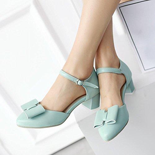 Arcs Solide Mee Bleu Couleur Talon Escarpins Mode Chaussures En supérieur Bloc Cuir Pu wYIFfqY
