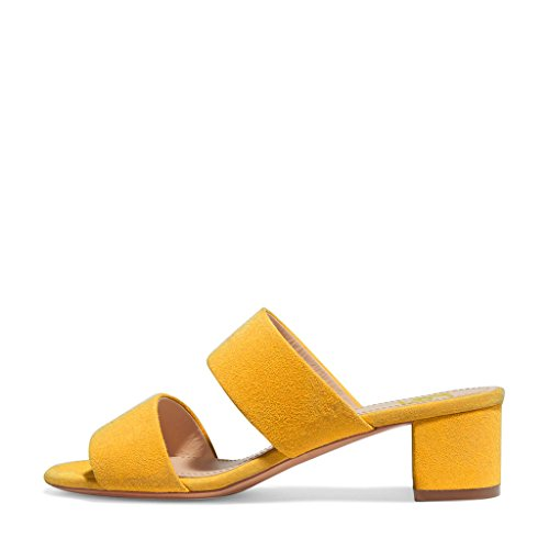 Slide Casual Toe 4 Chunky Shoes On Mules Size Heels Sandals Women US Open Yellow FSJ Low 15 Slip PAq14wx5