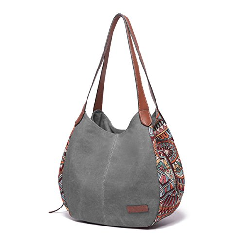 Bohemia Capacity Women Black for Brenice Handbag Totes Floral Purses Canvas Large Shoulder Grey Bag wqnBUU