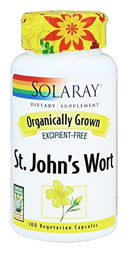 Solaray Organically Grown St. John's Wort Aerial 450mg | Herbal Support for Mood, Brain Health & Healthy Sleep | 100% Vegan, Non-GMO | 100ct