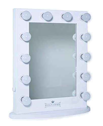 ReignCharm Hollywood Vanity Mirror 12-LED Lights Standard Dual Outlets, White