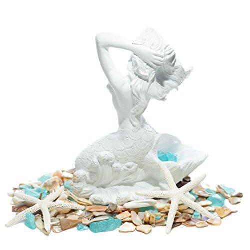 """Mermaid Figurine   Basking White Mermaid Statuette 7"""" H x 6W x 4.5D   Resin Mermaid Ocean Collectible   Nautical Home Decor TM …"""