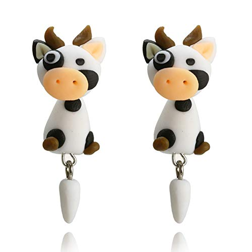 fomoisclU Womens Earrings, Cute Handmade Polymer Clay Cartoon Cow Ear Studs Earrings Party Gifts Valentine's Day/Wedding/Anniversary/Party/Mother's Day/Birthday Presents