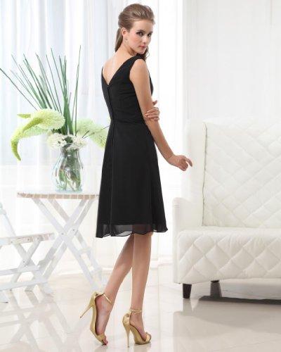 Knielang A Damen Schwarz Dearta Chiffon Linie Abendkleider Kleidungen Ausschnitt V qTEUYn