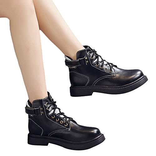 British Freizeitschuhe Ferse Martin Mode Klassische Frauen Stiefel Vintage Boots ABsoar Stiefel Schwarz Starke Motorradschuhe Damen Knöchel Schnürstiefel cvW4nn8U