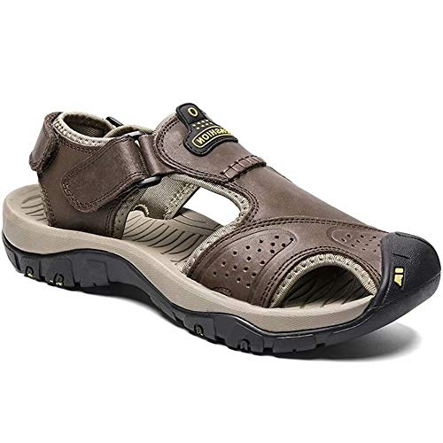 fa4f688b2ad9 visionreast Mens Leather Sandals Outdoor Hiking Sandals Waterproof Athletic  Sports Sandals Fisherman Beach Shoes Closed Toe Water Sandals